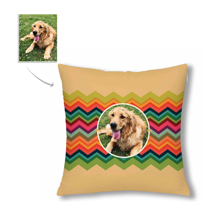 Custom Pet Photo And Colorful Stripes Pillow Case