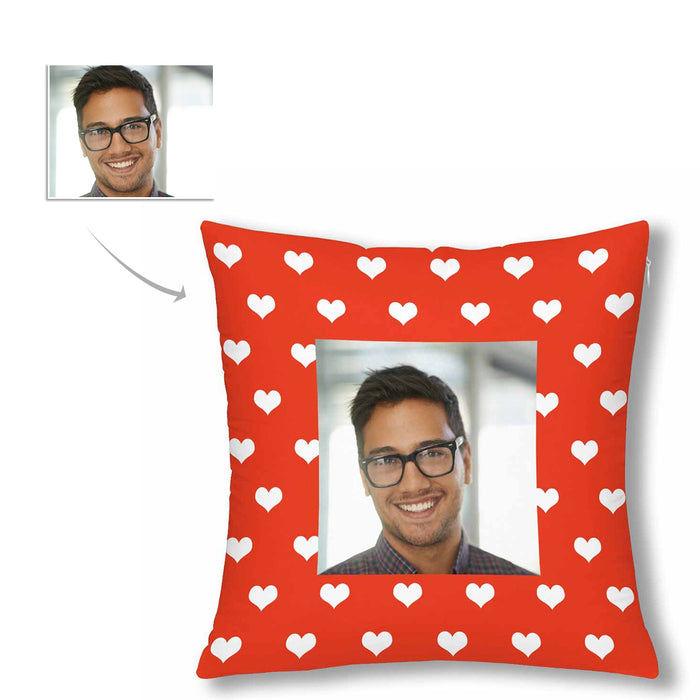Custom Love Heart Pattern With Photo Pillow Case