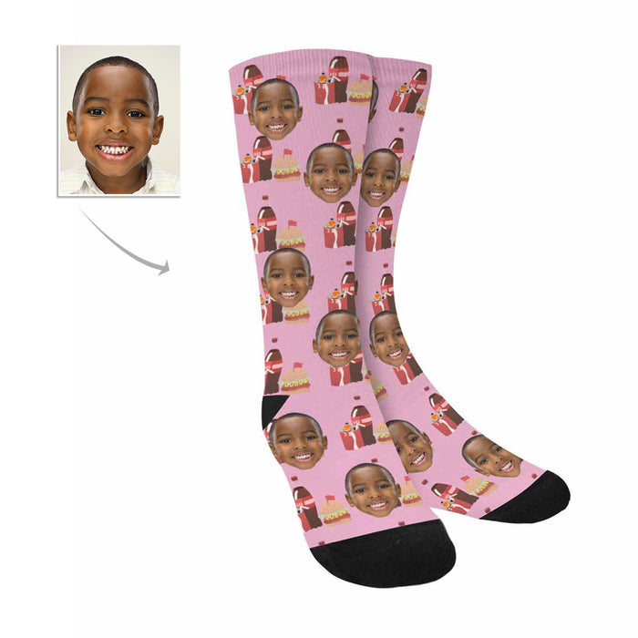 Custom Photo And Burger Combo Patterns Socks