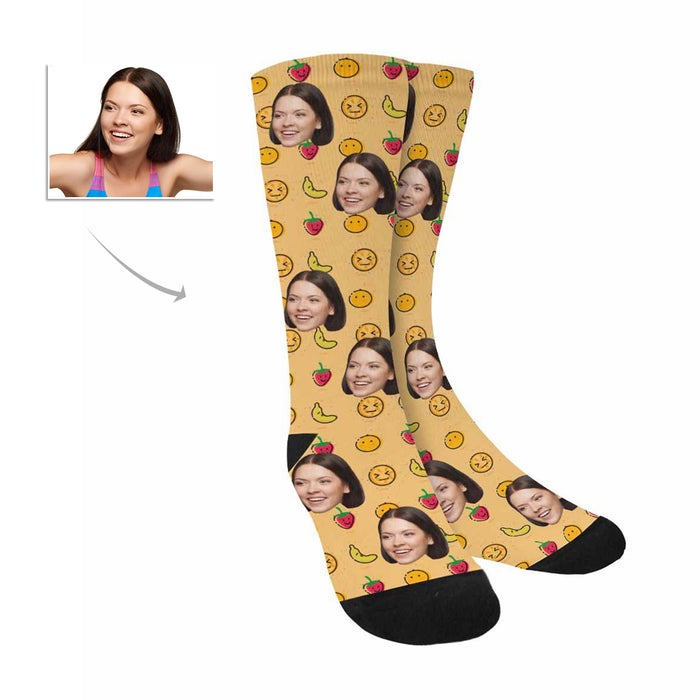 Custom Photo And Fruits Patterns Socks