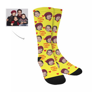 Custom Women's Face And Kid's Face And 'I Love You Mom' Photo  Socks Gifts - myphotowears