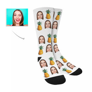 Custom Women's Face And Pineapple Patterns Socks - myphotowears