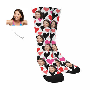 Custom Women's Face And Two Colors Love Heart Patterns Socks|Personalized Photo Gifts - myphotowears
