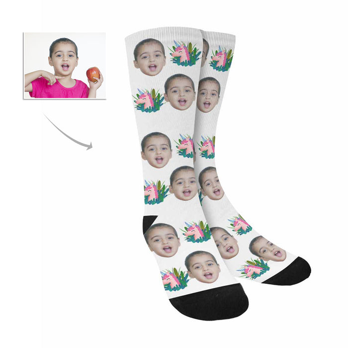 Custom Kid's Face And Cartoon Patterns Socks|Personlized Photo Gifts