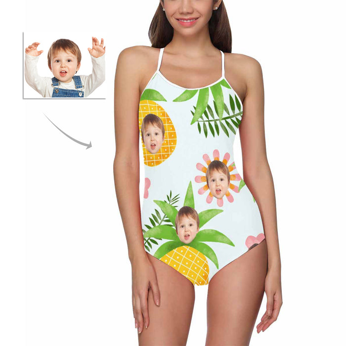 Custom Baby Face And Pineapples One Piece Swimsuit