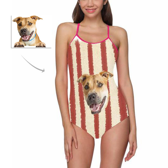 Custom Dog Face Photo One Piece Swimsuit