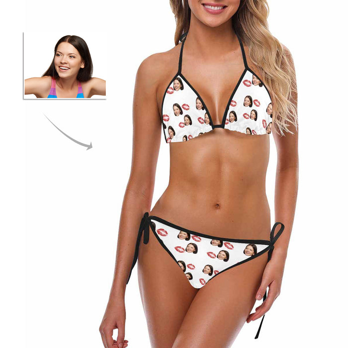 Custom Women's Face And Kiss Patterns Photo Swimsuit