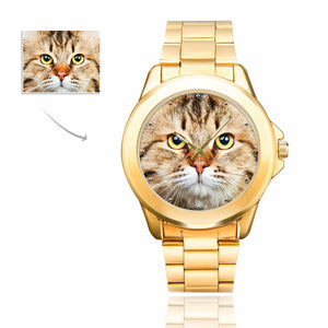 Custom Cat's Photo Men's Gilt Watch - myphotowears