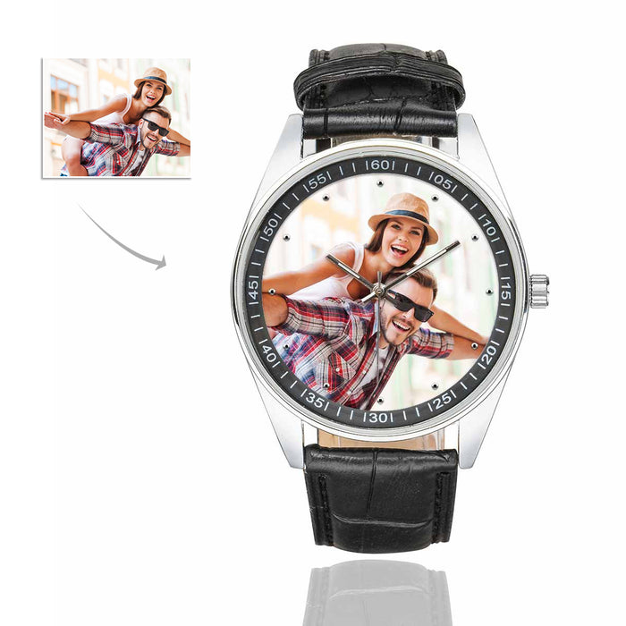 Custom Photo Men's Casual  Leather Strap Watch-Couple