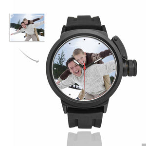 Custom Photo Men's Sport Watch Personalized Gifts - Father And Kid's - myphotowears