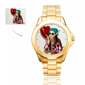 Custom Couple's Photo Men's Gilt Watch Personalized Gifts - myphotowears