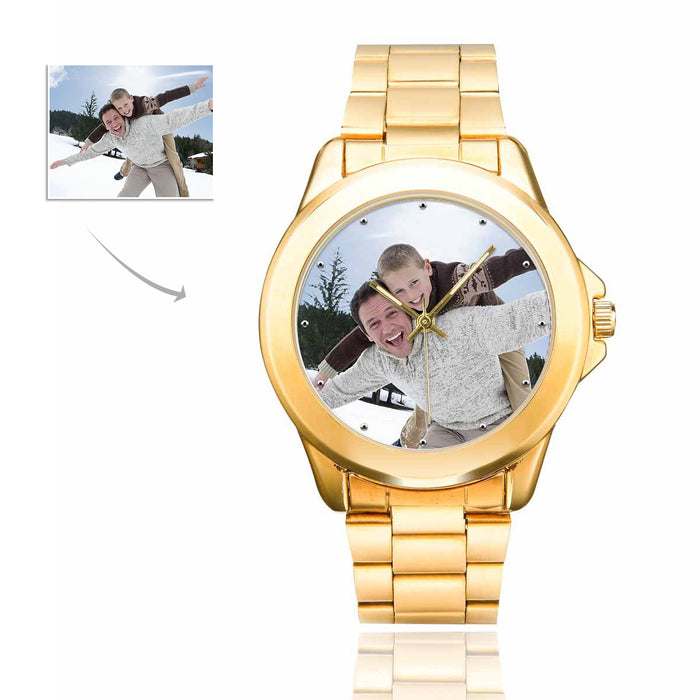 Custom Photo Men's Gilt Watch - Father And Kid's