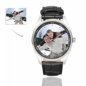 Custom Photo Men's Casual  Leather Strap Watch - Father And Kid's - myphotowears