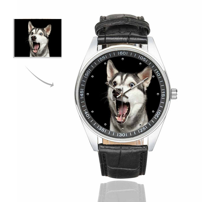 Custom Dog's Photo Men's Casual  Leather Strap Watch
