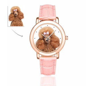 Custom Photo Women's Rose Gold-plated Leather Strap Watch-Dog - myphotowears