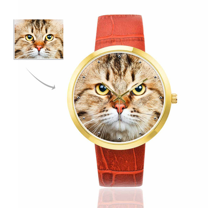 Custom Photo Women's Golden Leather Strap Watches-Pet's