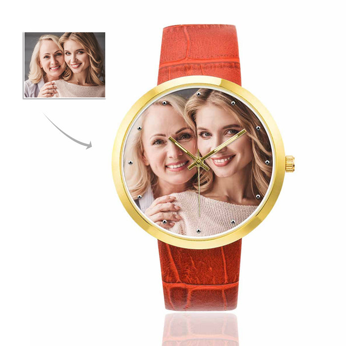 Custom Photo Women's Golden Leather Strap Watch-Mother&Daughter