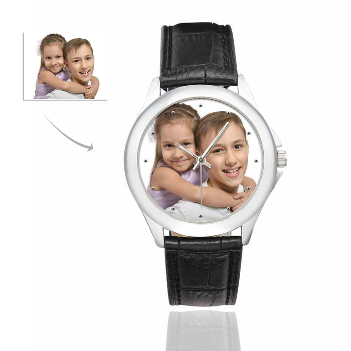 Custom Photo Men & Women Classic Leather Strap Couple Watch - Kid's
