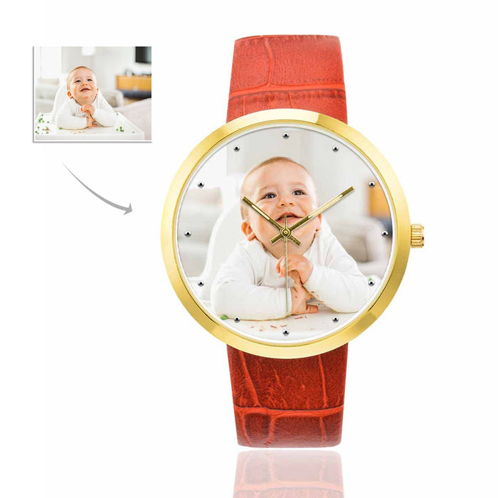 Custom Photo Women's Golden Leather Strap Watch - Kid's