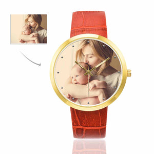 Custom Women's Golden Leather Strap Watch|Personalized Photo Gifts - myphotowears