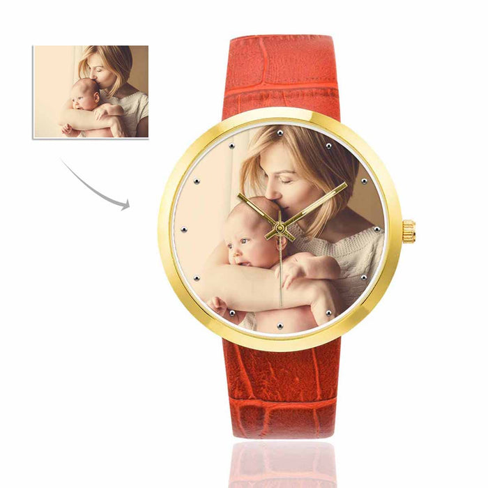 Custom Women's Golden Leather Strap Watch|Personalized Photo Gifts