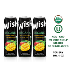 Organic Mango juice USDA. Pack of 3 x 33.8 Fl.Oz. No sugar added. Certified Organic. Kosher. Vegan. GMO-Free. Gluten-Free. Fully protected delivery.