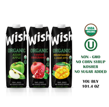 Organic Apple, Mango, Pomegranate juice USDA. Pack of 3 x 33.8 Fl.Oz. No sugar added. Certified Organic. Kosher. Vegan. GMO-Free. Gluten-Free. Fully protected delivery.