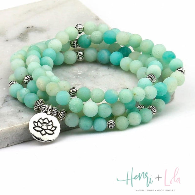 Amazonite Natural Stone Bead Mala Bracelet or Necklace - Yoga Bracelets & Malas