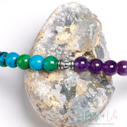 Amethyst and Chrysocolla Beads Mala Bracelet or Necklace - Yoga Bracelets & Malas
