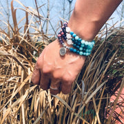 Apatite and Rhodochrosite Natural Stone Mala Bracelet or Necklace - Yoga Bracelets & Malas