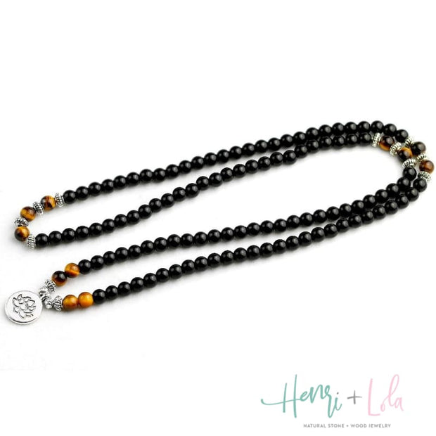 Black Onyx with Tiger Eye Mala Bracelet or Necklace - Yoga Bracelets & Malas