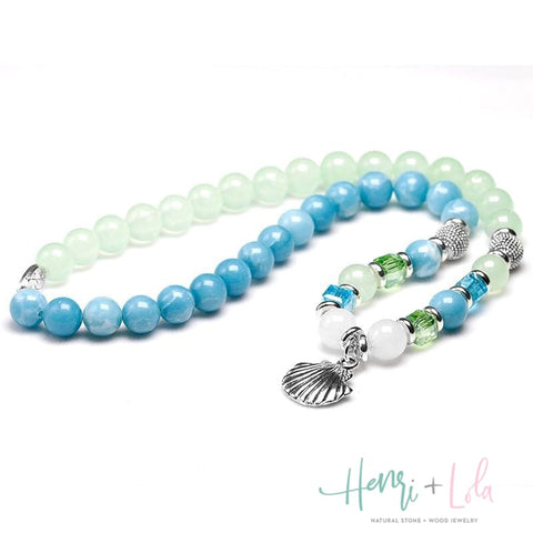 Blue Sky Stone, Grape Stone and Chalcedony Bracelet 2-Layer Beaded Bracelet - Yoga Bracelets & Malas