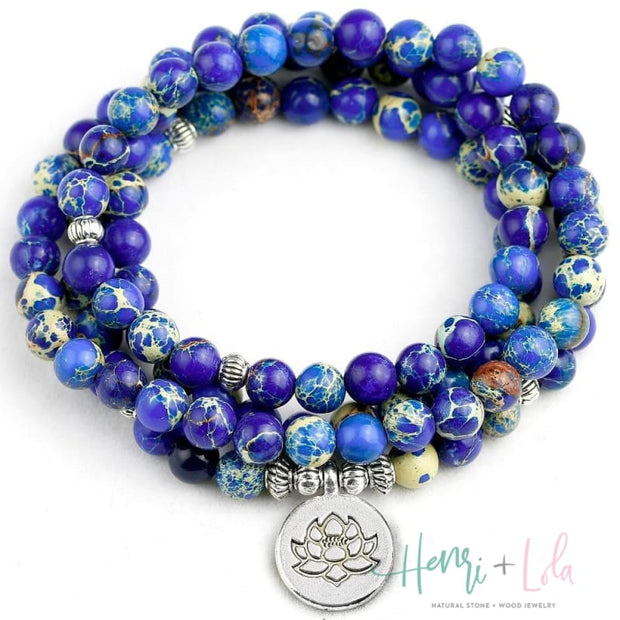 Dark Blue Ocean Sediment Bead Mala Bracelet or Necklace - Yoga Bracelets & Malas