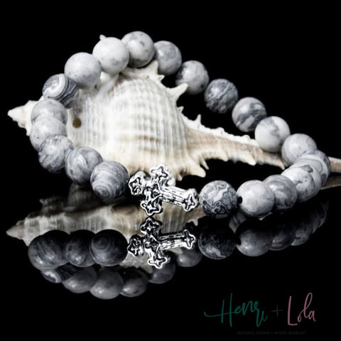 Gray Map Stone Cross Bracelet - Yoga Bracelets & Malas