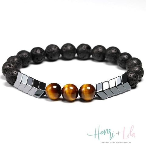 Lava Stone, Hematite and Tiger Eye Bead Bracelet - Yoga Bracelets & Malas