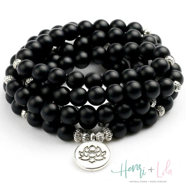 Matte Black Onyx Mala Bracelet or Necklace - Yoga Bracelets & Malas