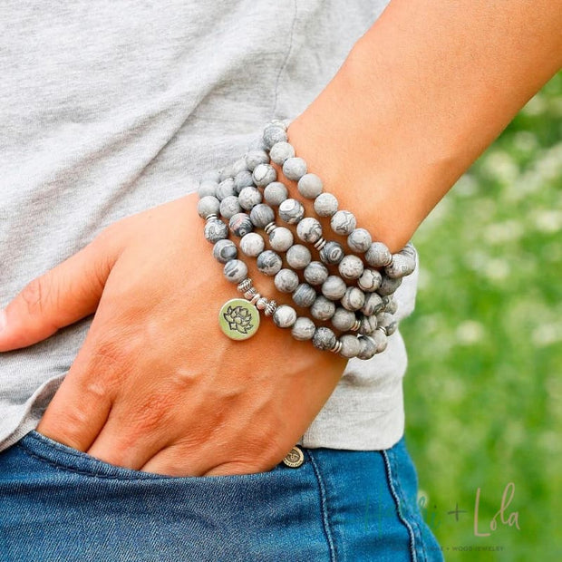 Matte Grey Map Stone Mala Yoga Bracelet or Necklace - Yoga Bracelets & Malas
