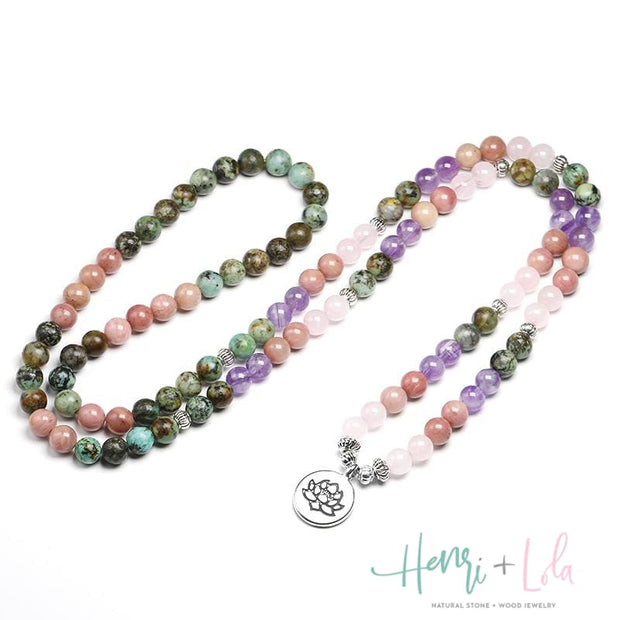Natural African Turquoise with Rose Quartz, Amethyst and Rhodochrosite Mala Bracelet or Necklace - Yoga Bracelets & Malas