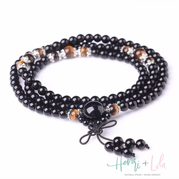 Natural Black Onyx and Tiger Eye Mala Bracelet or Necklace - Yoga Bracelets & Malas