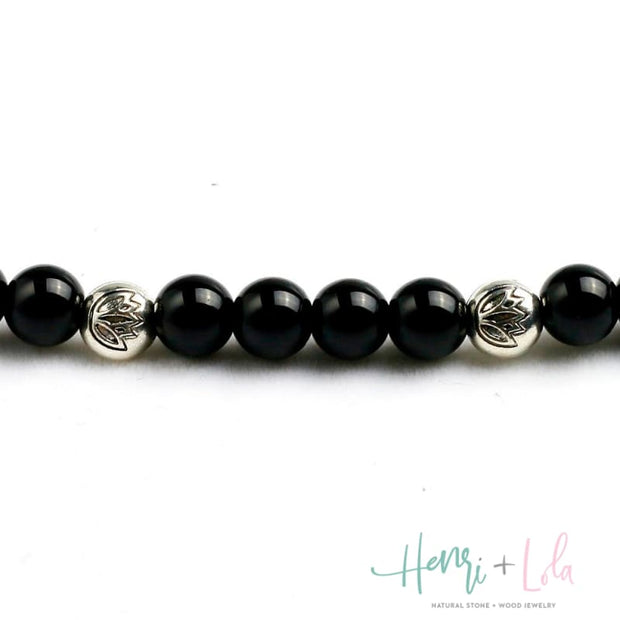 Natural Black Onyx Mala Bracelet or Necklace - Yoga Bracelets & Malas