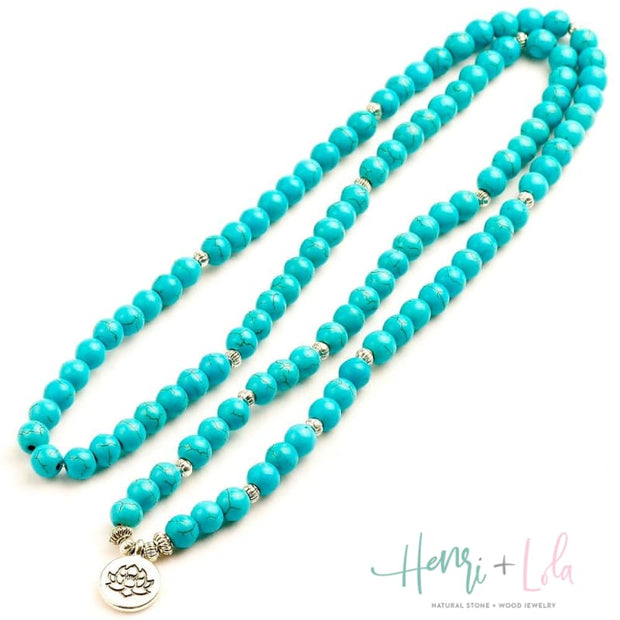 Natural Blue Howlite Mala Bracelet or Necklace - Yoga Bracelets & Malas