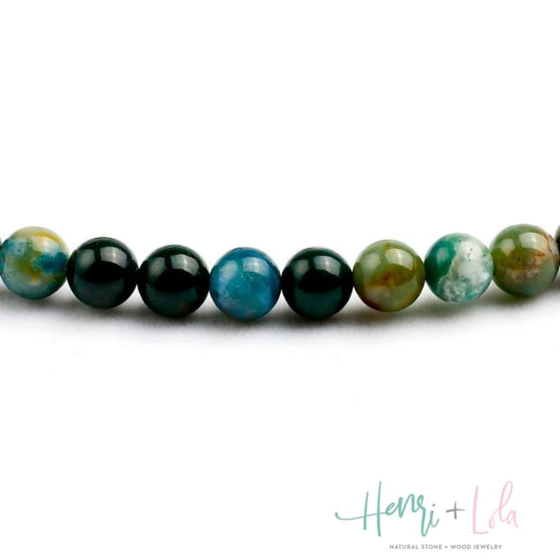 Natural Green India Onyx Mala Bracelet or Necklace - Yoga Bracelets & Malas