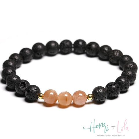 Natural Lava Beads With Sunstone Bracelet - Yoga Bracelets & Malas