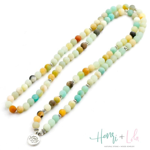 Natural Matte Amazonite Mala Bracelet or Necklace - Yoga Bracelets & Malas