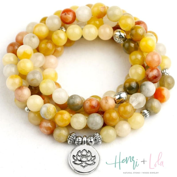 Natural Orange Topaz Mala Bracelet or Necklace - Yoga Bracelets & Malas