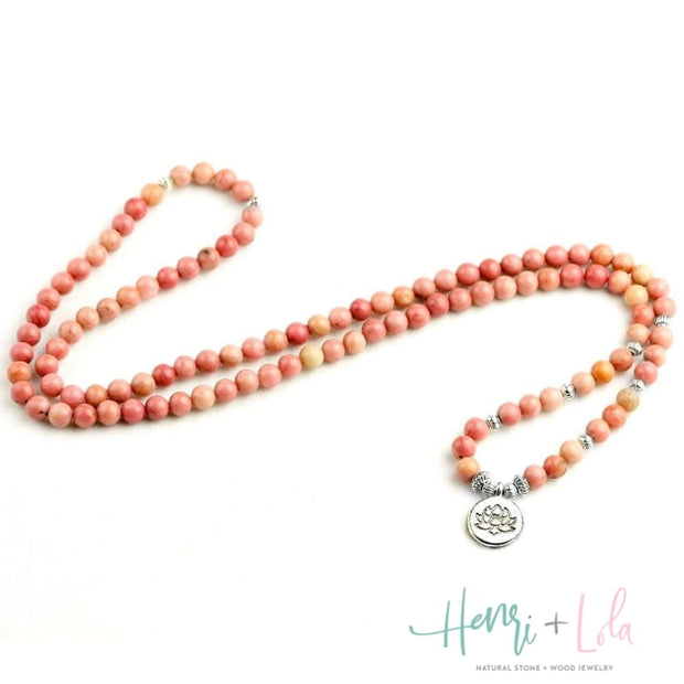 Natural Pink Rhodochrosite Mala Bracelet or Necklace - Yoga Bracelets & Malas