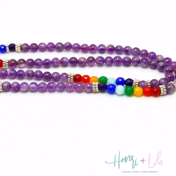 Natural Purple Crystal with Chakra Beads Mala Bracelet or Necklace - Yoga Bracelets & Malas