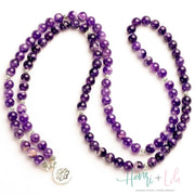 Natural Purple Quartz Mala Bracelet or Necklace - Yoga Bracelets & Malas