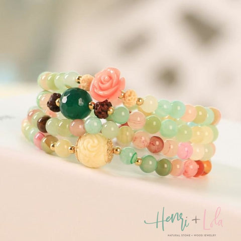 Natural Stone Multi-Layer Bracelet Pastel Green - Yoga Bracelets & Malas