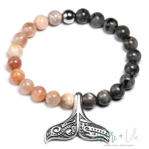 Natural Sunstone with Labradorite Bead Bracelet Whale Tail - Yoga Bracelets & Malas